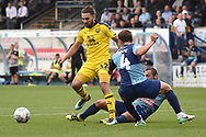 Oxford United midfielder (on loan from Sheffield United) Ricky Holmes) (12) looks for a way through the Oxford defence during the EFL Sky Bet League 1 match between Wycombe Wanderers and Oxford United at Adams Park, High Wycombe, England on 15 September 2018.