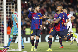 March 9, 2019 - Barcelona, Catalonia, Spain - FC Barcelona forward Lionel Messi (10) celebrates scoring the goal during the match FC Barcelona v Rayo Vallecano, for the round 27 of La Liga played at Camp Nou  on 9th March 2019 in Barcelona, Spain. (Credit Image: © Mikel Trigueros/NurPhoto via ZUMA Press)