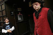 An actor is awaiting for incoming visitors by the entrance of the London Dungeon, England, on Thursday, Oct. 12, 2006. The London Dungeon is a live theatre attraction where visitors are taken by the actors through different areas featuring the darkest parts of British history. Some of the more than 40 exhibits include 'The Great Fire of London', 'Jack the Ripper', 'Judgement Day', 'The Torture Chamber', 'Henry VIII', 'The Tower of London' and 'The French Revolution'. In 2003 a new part opened focused on the Great Plague of 1665.   **Italy Out**..