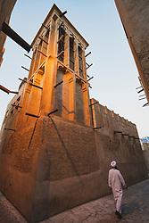 Traditional wind tower at original historic Al Fahidi district , al Bastakiya , in Dubai, United Arab Emirates