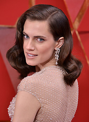 Allison Williams walking on the red carpet during the 90th Academy Awards ceremony, presented by the Academy of Motion Picture Arts and Sciences, held at the Dolby Theatre in Hollywood, California on March 4, 2018. (Photo by Sthanlee Mirador/Sipa USA)
