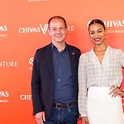 NLD/Amsterdam/20190509 -  Zoe Saldana bij finale van de Chivas Venture, Zoe Saldana en directeur van Chivas