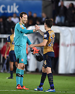 Petr Cech of Arsenal (l) is all smiles as shakes hands with teammate Hector Bellerin at end of match. Barclays Premier league match, Swansea city v Arsenal  at the Liberty Stadium in Swansea, South Wales  on Saturday 31st October 2015.<br /> pic by  Andrew Orchard, Andrew Orchard sports photography.