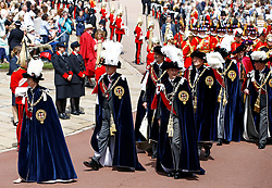 The Princess Royal, the Duke of York, the Earl of Wessex, Spain's King Felipe and Dutch King Willem-Alexander during the annual Order of the Garter Service at St George's Chapel, Windsor Castle.