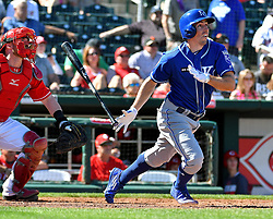 March 7, 2017 - Goodyear, AZ, USA - The Kansas City Royals' Billy Burns follows through on a solo home run during spring training action against the Cincinnati Reds at Goodyear Ballpark in Goodyear, Ariz., on Tuesday, March 7, 2017. The Reds won, 7-3. (Credit Image: © John Sleezer/TNS via ZUMA Wire)