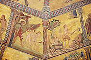 The Medieval mosaics of the ceiling of The Baptistry of Florence Duomo ( Battistero di San Giovanni ) showing the Adan & Eve being expelled from the Garden of Eden by the Archangel Gabriel (left) and starting to work on barren rocky land ,  started in 1225 by Venetian craftsmen in a Byzantine style and completed in the 14th century. Florence Italy .<br /> <br /> If you prefer you can also buy from our ALAMY PHOTO LIBRARY  Collection visit : https://www.alamy.com/portfolio/paul-williams-funkystock/byzantine-art-antiquities.html . Type -   Florence   - into the LOWER SEARCH WITHIN GALLERY box. Refine search by adding subject etc<br /> <br /> Visit our BYZANTINE ART PHOTO COLLECTION for more   photos  to download or buy as prints https://funkystock.photoshelter.com/gallery-collection/Roman-Byzantine-Art-Artefacts-Antiquities-Historic-Sites-Pictures-Images-of/C0000lW_87AclrOk .<br /> <br /> Visit our ITALY PHOTO COLLECTION for more   photos of Italy to download or buy as prints https://funkystock.photoshelter.com/gallery-collection/2b-Pictures-Images-of-Italy-Photos-of-Italian-Historic-Landmark-Sites/C0000qxA2zGFjd_k<br /> .<br /> <br /> Visit our MEDIEVAL PHOTO COLLECTIONS for more   photos  to download or buy as prints https://funkystock.photoshelter.com/gallery-collection/Medieval-Middle-Ages-Historic-Places-Arcaeological-Sites-Pictures-Images-of/C0000B5ZA54_WD0s