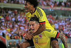 LIMA, Oct. 11, 2017  Colombia's James Rodriguez (Down) celebrates after scoring during the Russia 2018 FIFA World Cup qualifier match against Peru, at the National Stadium of Lima, in Lima, Peru, on Oct. 10, 2017. The match ended in a draw 1-1.  ma) (da) (Credit Image: © Andina/Xinhua via ZUMA Wire)