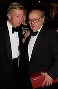 Jeremy Richardson and Lord Oaksey (who won the Daily telegraph award of Merit).  Cartier Racing Awards 2003. four Seasons hotel, 12 November 2003. © Copyright Photograph by Dafydd Jones 66 Stockwell Park Rd. London SW9 0DA Tel 020 7733 0108 www.dafjones.com