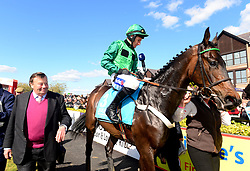 Fusil Raffles and Daryl Jacob with trainer Nicky Henderson after winning the ES Champion Four Year Old Hurdle during day five of the Punchestown Festival at Punchestown Racecourse, County Kildare, Ireland.
