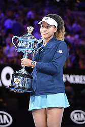 MELBOURNE, Jan. 26, 2019  Naomi Osaka of Japan holds up the trophy during the trophy awarding ceremony after the women's singles final match between Naomi Osaka of Japan and Petra Kvitova of the Czech Republic at 2019 Australian Open in Melbourne, Australia, Jan. 26, 2019. (Credit Image: © Lui Siu Wai/Xinhua via ZUMA Wire)