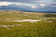 Carboniferous limestone pavements scenery, top of Malham Cove Yorkshire Dales national park, England, UK