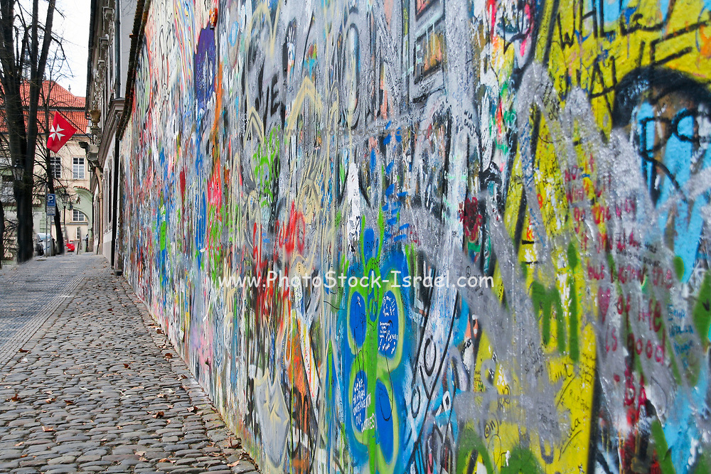 Colorful graffiti at the famous John Lennon wall in Prague, Czech Republic