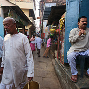The narrow alleys of old Varanasi's old town