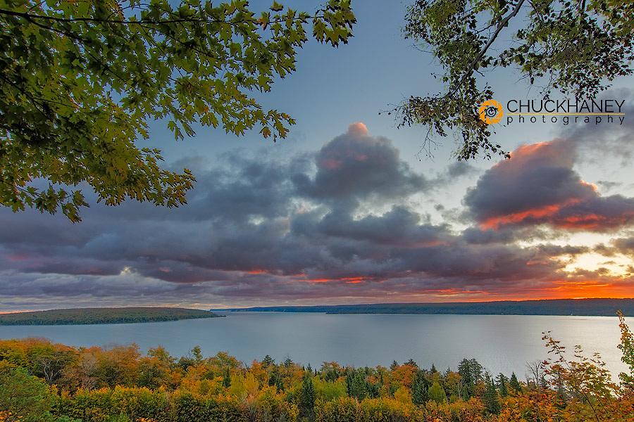 Sunrise over Munising Bay and Grand Island in autumn in Munising, Michigan, USA