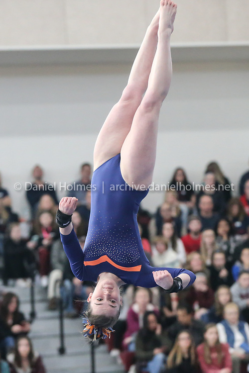 Newton South's Claire Slack competes on the floor exercise  during the Girls Gymnastics State Final at (Algonquin Regional High School, on Feb. 29, 2020. [Daily News and Wicked Local Photo/Dan Holmes]