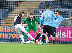 Falkirk's Conor McGrandles scoring their goal.<br /> Half time : Falkirk 1 v 0 Dundee, Scottish Championship game at The Falkirk Stadium.<br /> © Michael Schofield.