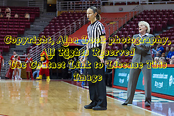 03 January 2014:  Referee Lisa Mattingly and Head Coach Barb Smith watch the action during an NCAA women's basketball game between the Drake Bulldogs and the Illinois Sate Redbirds at Redbird Arena in Normal IL