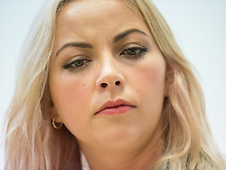 © Licensed to London News Pictures . 05/10/2015 . Manchester , UK . CHARLOTTE CHURCH at a People's Assembly press conference at Friends Meeting House opposite the Conservative Party Conference at the Manchester Central Convention Centre , this morning (5th October 2015) . Photo credit : Joel Goodman/LNP