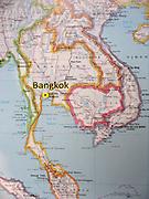 A map of Thailand marks Bangkok (Krung Thep) in southeast Asia.