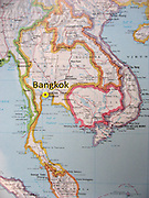 A map of Thailand marks Bangkok (Krung Thep) in southeast Asia.
