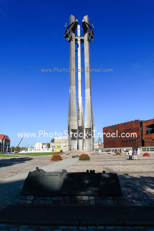 Monument to the Fallen Shipyard workers at Plac solidarnosci the Solidarity Square Gdansk Poland