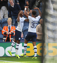 Daniel Johnson of Preston North End (L) celebrates after scoring his sides first goal from the penalty spot - Mandatory by-line: Jack Phillips/JMP - 05/08/2017 - FOOTBALL - Deepdale - Preston, England - Preston North End v Sheffield Wednesday - English Football League Championship