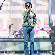 WASHINGTON, DC - May 21st, 2019 - George Daniel, Matt Healy and Ross MacDonald of The 1975 perform at The Anthem in Washington, D.C. The band's third studio album, A Brief Inquiry into Online Relationships, was released late last year and  reached number one in the UK and number four in the US.  (Photo by Kyle Gustafson / For The Washington Post)