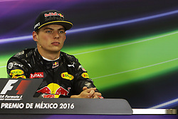 Max Verstappen (NLD) Red Bull Racing in the FIA Press Conference.<br /> 29.10.2016. Formula 1 World Championship, Rd 19, Mexican Grand Prix, Mexico City, Mexico, Qualifying Day.<br />  Copyright: Bearne / XPB Images / action press