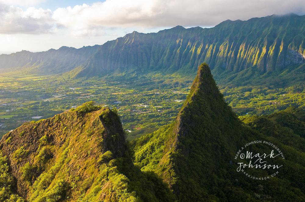 View of the Koolau Mountains, Windward (East) side of Oahu, Hawaii from Mt. Olomana