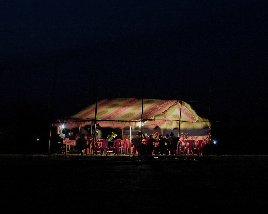 Picnic in a tent at night