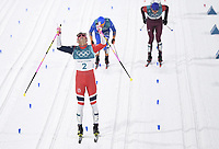 (180213) -- PYEONGCHANG, Feb. 13, 2018 -- Johannes Hoesflot Klæbo (R) from Norway takes group photo with audience after finishing men s sprint classic final of cross-country skiing at the Pyeongchang 2018 Winter Olympic Games Olympische Spiele Olympia OS at Alpensia Cross-Country Centre, PyeongChang, South Korea, Feb. 13, 2018. Johannes Hoesflot Klaebo claimed the champion in a time of 3:05.75. ) (SP)OLY-SOUTH KOREA-PYEONGCHANG-CROSS-COUNTRY SKIING-MENS SPRINT CLASSIC JuxHuanzong PUBLICATIONxNOTxINxCHN