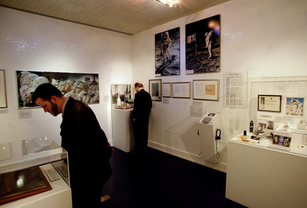 YORBA LINDA, CA, FEBRUARY 21, 2007: The Richard Nixon Library and Birthplace in Yorba Linda, California. Visitors gaze at artifacts in the space exhibit. (Photograph by Todd Bigelow/Aurora)