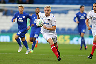 Jack Whatmough  of Portsmouth © in action. . Carabao Cup, 1st round match, Cardiff city v Portsmouth at the Cardiff city Stadium in Cardiff, South Wales on Tuesday August 8th 2017.<br /> pic by Andrew Orchard, Andrew Orchard sports photography.