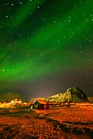 Northern Lights (Aurora Borealis), Gimsoya Island, Lofoten Islands, Arctic, Northern Norway.