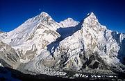Moonrise over Chomolungma,  Mt Everest, Lhotse & Nuptse from Sth Ridge Pumori, Khumbu Himal, Nepal Himalaya.