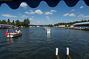 Henley-on-Thames. United Kingdom.  2017 Henley Royal Regatta, Henley Reach, River Thames. <br /> General view down the regatta course from the progress board.<br /> <br /> 13:34:35  Sunday  02/07/2017   <br /> <br /> [Mandatory Credit. Peter SPURRIER/Intersport Images.