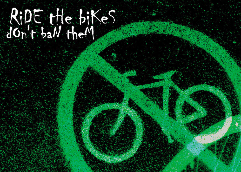 """Bicycling Postcard - Ride the Bikes - Don't Ban Them. Suitable for use on a 4.25"""" x 6"""" printed postcard."""