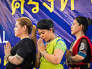 20 SEPTEMBER 2015 - SARIKA, NAKHON NAYOK, THAILAND:  Women pray at the Ganesh festival at Shri Utthayan Ganesha Temple in Sarika, Nakhon Nayok. Ganesh Chaturthi, also known as Vinayaka Chaturthi, is a Hindu festival dedicated to Lord Ganesh. Ganesh is the patron of arts and sciences, the deity of intellect and wisdom -- identified by his elephant head. The holiday is celebrated for 10 days. Wat Utthaya Ganesh in Nakhon Nayok province, is a Buddhist temple that venerates Ganesh, who is popular with Thai Buddhists. The temple draws both Buddhists and Hindus and celebrates the Ganesh holiday a week ahead of most other places.   PHOTO BY JACK KURTZ