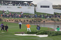 February 3, 2019 - Scottsdale, AZ, U.S. - SCOTTSDALE, AZ - FEBRUARY 03: Rickie Fowler is just off the 18th hole fairway near the rough and the water at the final round of the Waste Management Phoenix Open on February 3, 2019, at TPC Scottsdale in Scottsdale, Arizona.  (Photo by Will Powers/Icon Sportswire) (Credit Image: © Will Powers/Icon SMI via ZUMA Press)