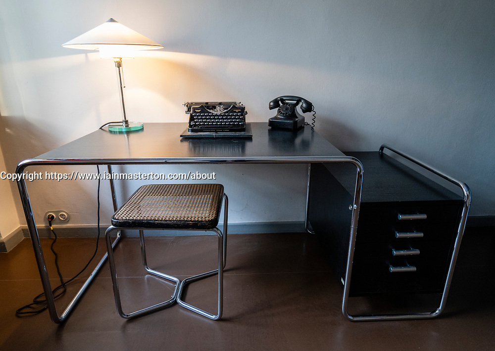 Desk inside Bauhaus style Haus Feininger, one of the Meisterhauser  in Dessau, Germany.