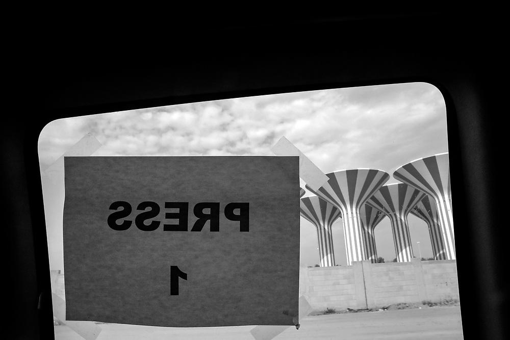 The view through a window in a press van in Kuwait City, Kuwait.