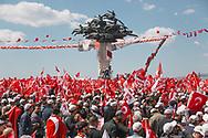 Crowds gather in support of Turkish president Recep Tayyip Erdogan at an AK Party rally in Izmir, Turkey.