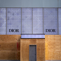 Dior storefront boarded-up in anticipation of post-election violence in New York City, NY USA.