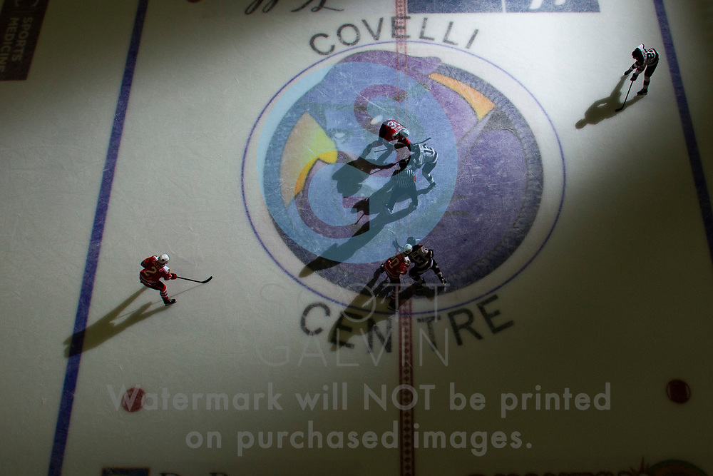 The Youngstown Phantoms lose 5-4 in overtime to the Chicago Steel at the Covelli Centre on February 26, 2020.<br /> <br /> Trevor Kuntar, forward, 16; Matthew Cassidy, forward, 20; Aiden Gallacher, defenseman, 2