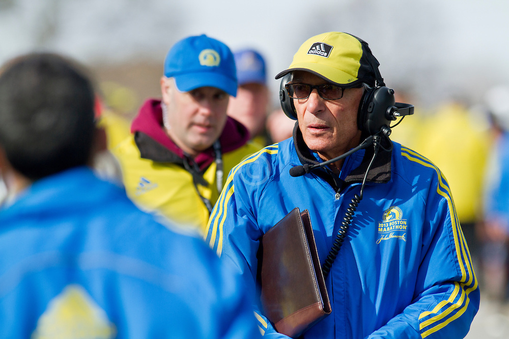 2013 Boston Marathon: race official at start