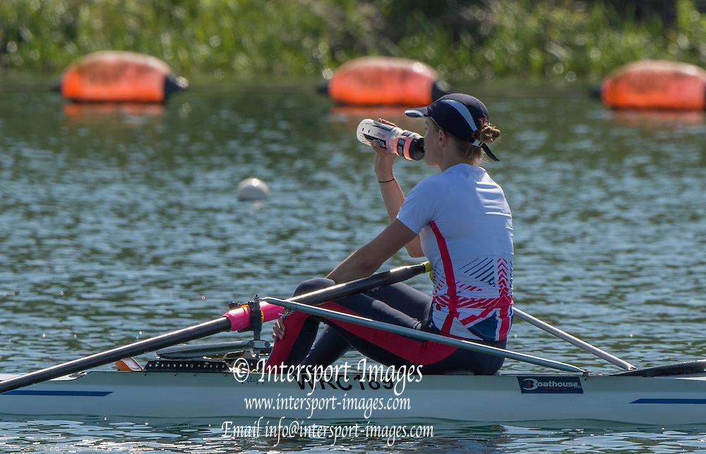 Caversham. Reading. Eleanor PIGGITT re Hydrates out on the lake, during the second trainginf session. GBRowing  European Team Announcement, GB Training Base Reading. 13.05.2015. Wednesday. [Mandatory Credit: Peter Spurrier/Intersport-images.com