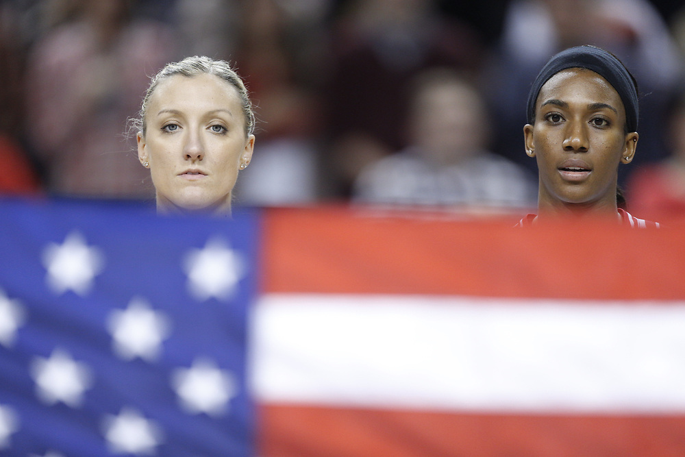 Former Husker Jordan Larson #10 stands during the national anthem prior to USA Volleyball's 3-0 win over Canada at Pinnacle Bank Arena in Lincoln, Neb., on Jan. 7, 2016. Photo by Aaron Babcock, Hail Varsity