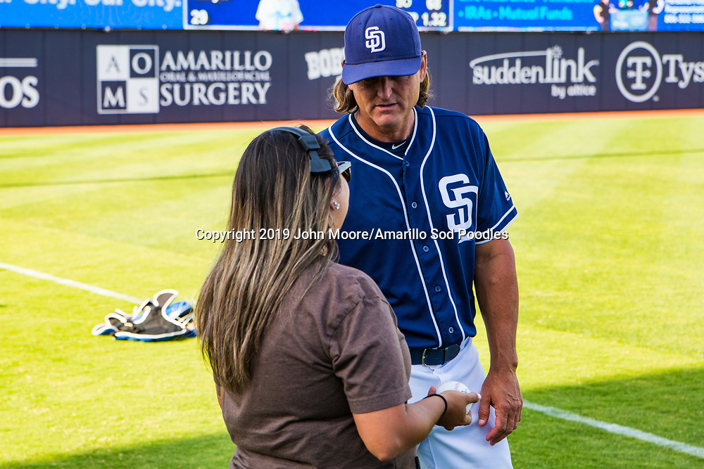 Trevor Hoffman before the Sod Poodles game against the Frisco RoughRiders on Thursday, Aug. 1, 2019, at HODGETOWN in Amarillo, Texas. [Photo by John Moore/Amarillo Sod Poodles]