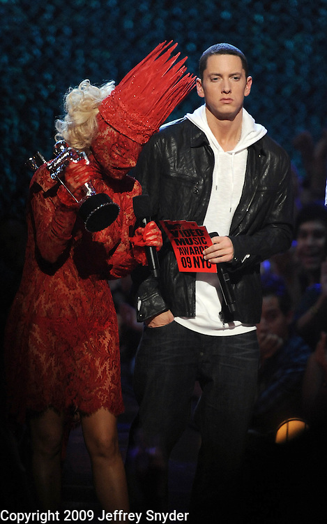 New York, NY-September 13, 2009: Lady Gaga and Eminem perform during the MTV Video Music Awards at Radio City Music Hall on September 13, 2009 in New York City (Photo by Jeff Snyder/PictureGroup)