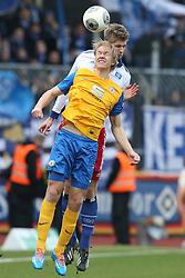 Football: Germany, 1. Bundesliga, Braunschweig, 15.02.2014<br />Lasse Sobiech (Hamburger SV) Jan Hochscheidt (Eintracht Braunschweig)<br /> copyright: pixathlon